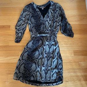 100% silk snakeskin printed dress